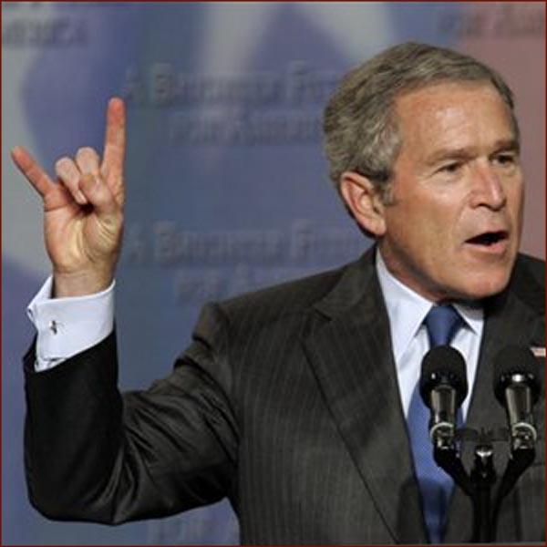 METALLICA - Hardwired... To Self-Destruct (18 novembre) - Page 2 03%20-%20president-george-w-bush-hook-em-horns-hand-gesture